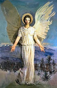 "1919 painting by Abbott H. Thayer, ""Monadnock Angel"""