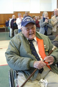 Mr. Shonk is awarded the Boston Post Cane at Town Meeting. Photo by Sally Shonk