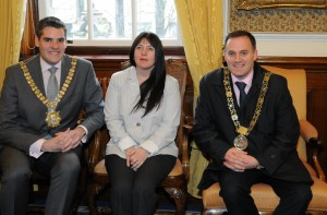 Sherry with Lord Mayor of Belfast and Lord Mayor of Dublin, Ireland.