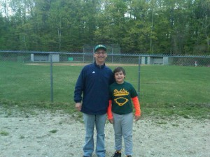 Sam Scheinblum and his dad, Rich, at the field.