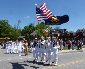 This photo taken by Edith Jenkins on Memorial Day captures the high stepping of the Sea Cadets, some of whom are Dublin residents. They include Sarah Letourneau, Nick Graves (left rifle), and Ben Graves (holding the Unit Flag).