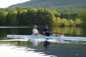 Rich, at right, and training partner rowing on Dublin Lake.