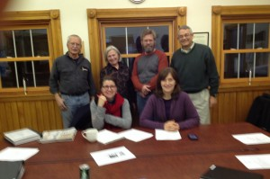 Members of the ZBA (l-r), front: Susan Phillips-Hungerford and Mary Langen. Back: Paul Delphia, Mary Liz Lewis, Dan French, and Secretary Neil Sandford. Photo by Sally Shonk