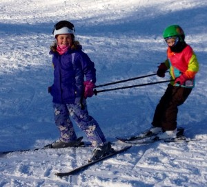 A couple of our skiers having fun on a ski day.