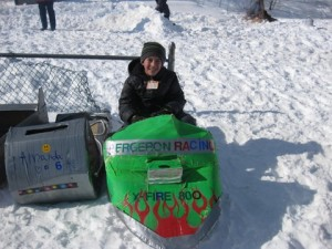 Jason Bergeron (age 10 from Dublin) on his X-Fire 800 Snowmobile Box Sled. Next to Jason is his sister Amanda's box sled.