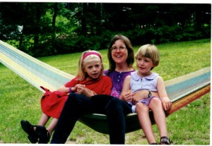Shelby and Hilary with Karen Newell in the hammock.