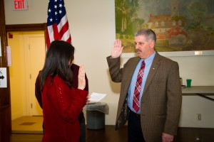 Police Chief Stephen Sullivan was sworn in on March 10, 2014, by Jeannine Dunn, Town Clerk/Tax Collector. Photo by Brie Morrissey of BLM Photography