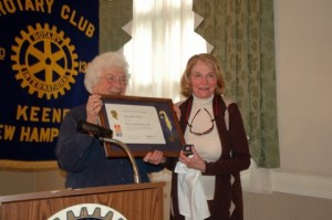 Jane Kirk of Rotary in Keene presents Mary Ellen Moore with the Paul Harris Award. Photo by Sally Shonk