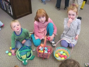 Wes, Avery, and Kinsey Moore enjoyed the Easter Egg hunt, which more than 85 people attended at the Library on April 12th. It was sponsored by the Recreation Committee.