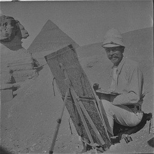 Joseph Lindon Smith at his easel in the Valley of the Kings, 1905-1907. Photo courtesy of the Dublin Historical Society
