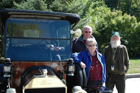 The Bardens, their 1914 Model T, and Pete Thomas made a rare appearance at Peterborough's Cruz-In mid-September. Photo by Sally Shonk