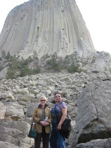 Nancy with her dear friend Jerry Goes In Center, starting a hike around Devil's Tower. The Indian name for this sacred place is Mato Tipi, (Bear Lodge), 2010.