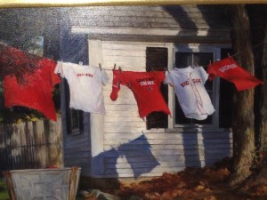 'Red Sock,' an oil painting by Jan Mercuri Grossman of Amherst, NH, will be on display in Jaffrey.