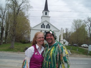 Dawn and Jay, both Morris Dancers, in front of the Nelson Congregational Church at the Annual Maypole celebration.