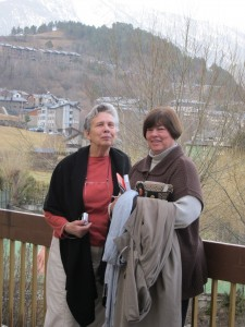 Frona at left with her friend, Judy Knapp, in March 2010 when they visited Andorra, located in the eastern Pyrenees Mountains.