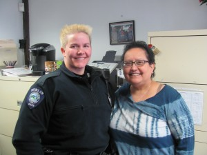 Vira Elder (R), shown here with Officer Hetrick, has served the DPD for many years. Photo by Margaret Gurney
