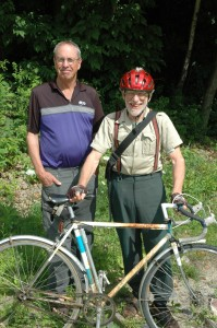Bronson Shonk joins John Allis and his single-gear bicycle. Photo by Sally Shonk