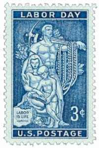 """To honor Labor Day, this U.S. postage stamp was released featuring a design from the mosaic mural at the AFL-CIO headquarters in Washington, DC. The mural, called """"Labor is Life,"""" was designed by artist Lumen Winter. Congress passed a law in 1894 designating the first Monday in September as a federal holiday and called it Labor Day. The First Day of Issue ceremony was, for the first time, preceded by a dedication ceremony – both of which took place in the White House Rose Garden."""