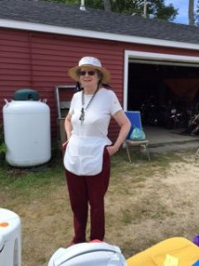 Linda Clukay at the Yankee Barn Sale. Photo by Margaret Gurney