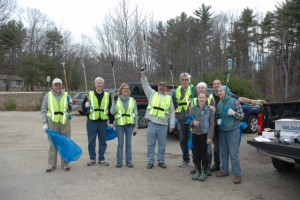 Members of the Monadnock Rotary Club gathered at Carr's Store on April 30 before beginning the annual roadside cleanup. Almost 50 blue bags of trash (47) were collected from the roadside between Carr's and Union Street in Peterborough. From left to right, Rob Harris, Bob Vecchiotti, Mary Loftis, Chuck Simpson, Paul Tuller, Balmeet Kaur Khalsa, Charlotte Lasky, Adam Hamilton and Wendy White. Not photographed but also participating were Jerry and Ramona Branch and John Goodhue.