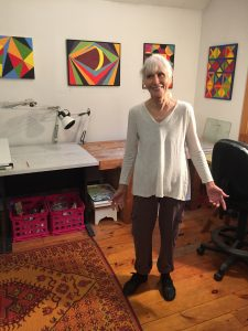 Sheila King showed her new work in her High Ridge Road studio: bright geometric paintings done in egg tempera.