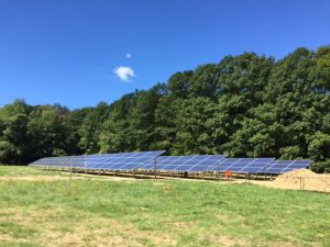 Yankee Publishing's new solar array is nearing completion and is expected to be generating power in October. The 93.5kW system will generate as much electricity as Yankee uses in a year, according to President Jamie Trowbridge. Photo by Margaret Gurney