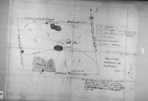 An 1805 map of Dublin showing five roads that met at the Village. Photo courtesy NH State Archives