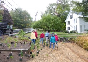 Volunteers in the Garden Club of Dublin are busy beautifying town. L-R: Nancy Jackson, Connie Oliver, Louisa Birch, Wendy Pearre, Jane Keough, MaryLiz Lewis, and Ann Conway. Photo by Karen Bunch