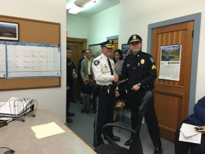 Dublin Police Chief Tim Suokko, left, welcomes Sergeant Jeremy Jeffers to the force as he was sworn in on November 7 in the Selectmen's meeting. Photo by Sherry Miller