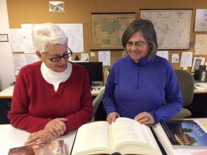 Nancy Campbell and Lisa Foote at the Archives.