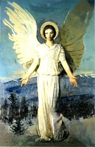 """The monumental Monadnock Angel was one of the last works painted by Abbott Handerson Thayer, who died in Dublin in 1921. The original oil on canvas measuring 91 1/8"""" by 60"""" can be seen at the Addison Gallery of Art in Andover, Massachusetts."""